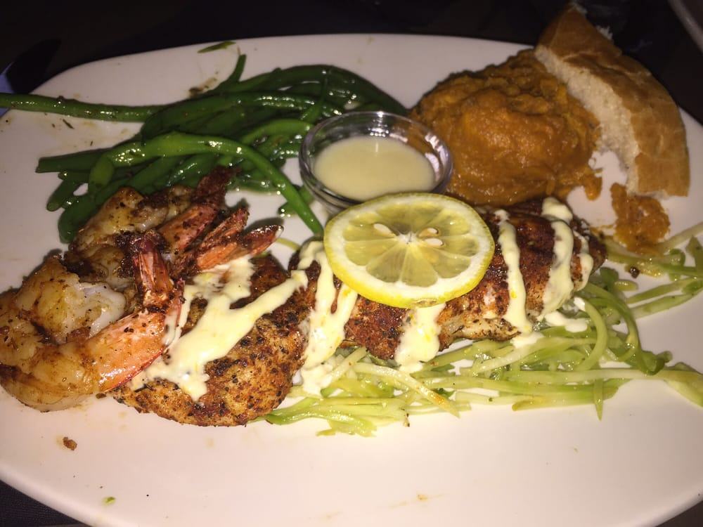 Special Grouper Blackened With Blackened Shrimp With Green Beans And Sweet Potato Mash And A