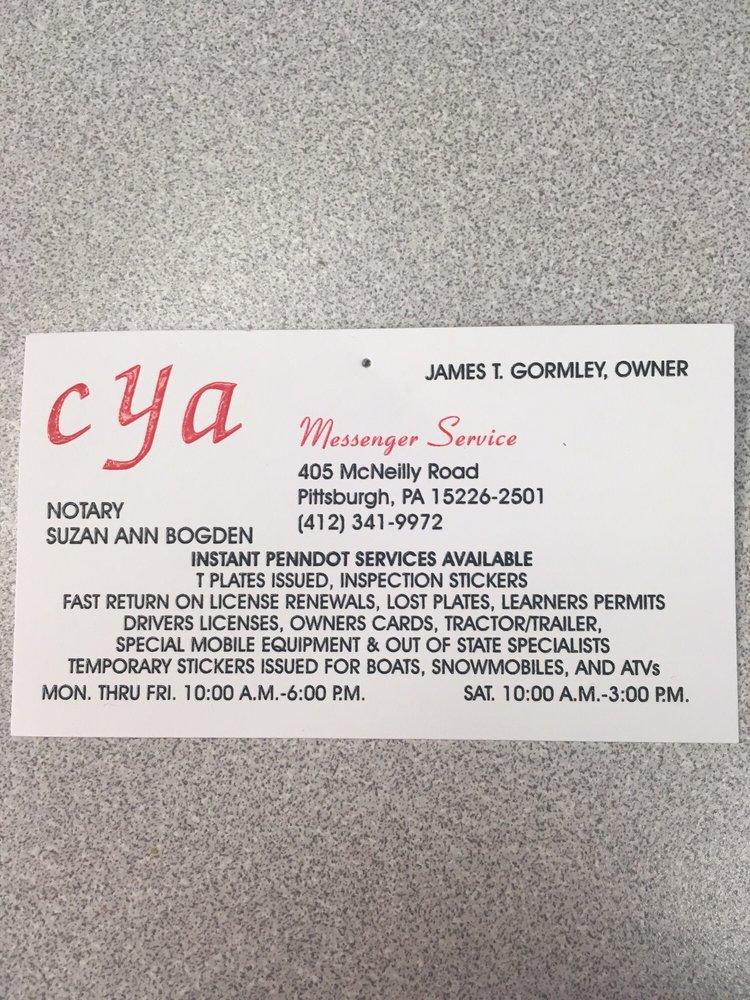 Cya Messenger Service: 405 McNeilly Rd, Pittsburgh, PA