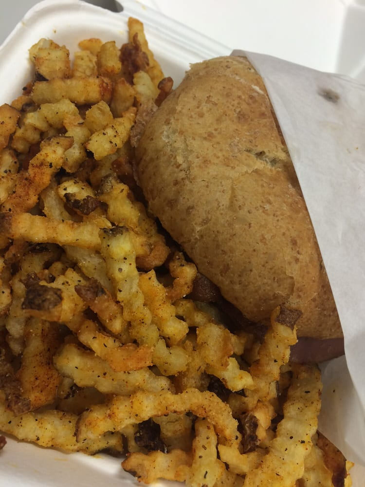 """Burger with """"spicy fries"""" (actually just over-seasoned) - Yelp"""