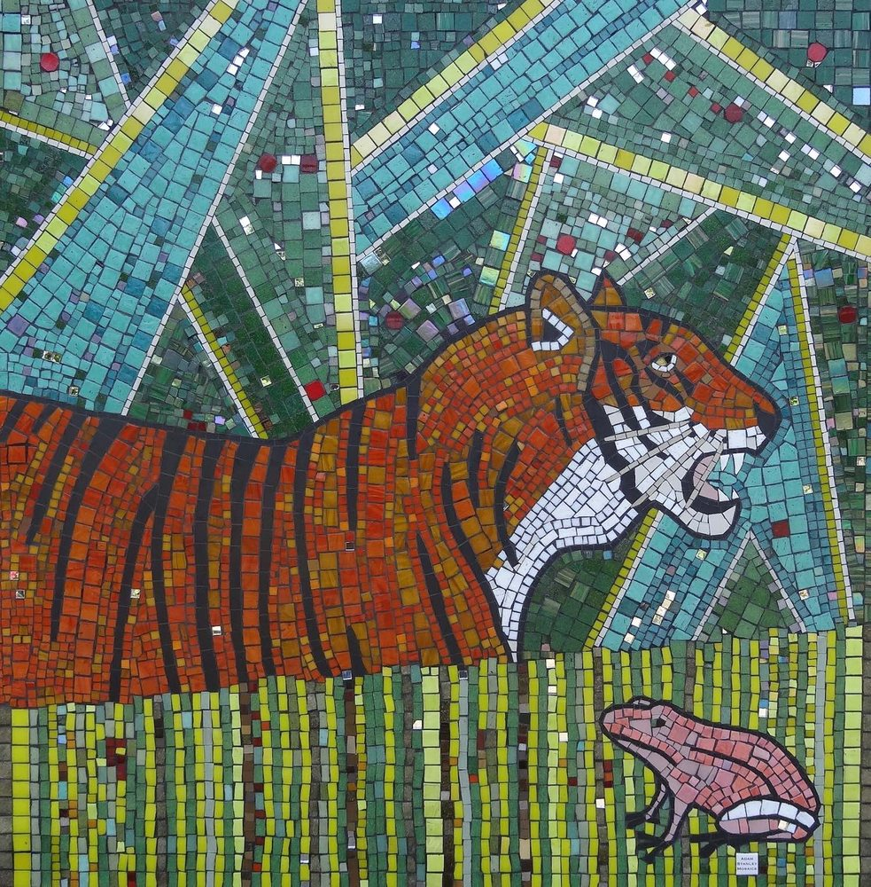 Tiger mosaic at Camelot Primary school with Adam Stanley at