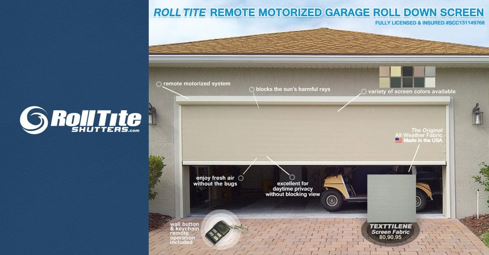Remote motorized screen for garages or lanai 39 s by roll for Garage door repair port charlotte fl
