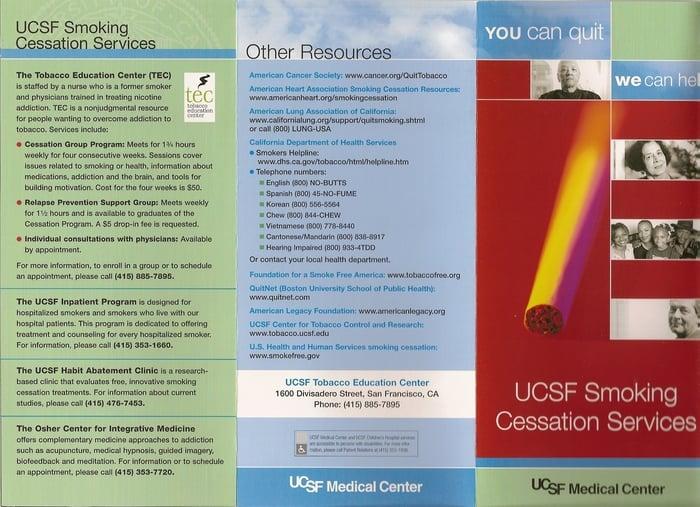 UCSF Tobacco Education Center: 1600 Divisadero St, San Francisco, CA
