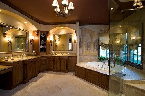 Master bath suite with frameless glass shower jacuzzi tub for Master bathroom jacuzzi