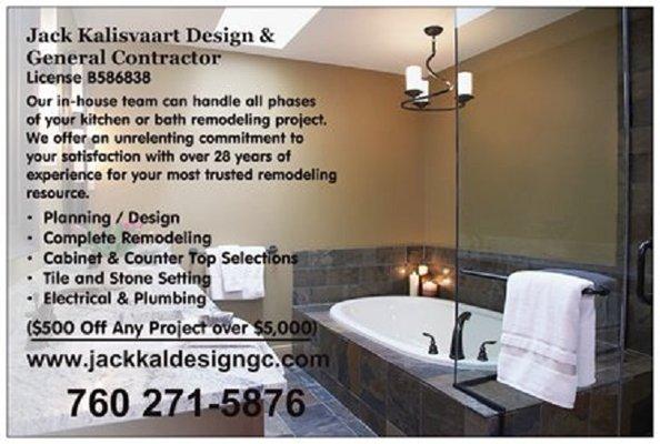 Jack Kalisvaart Design General Contractor Carlsbad CA General - Bathroom remodeling carlsbad ca