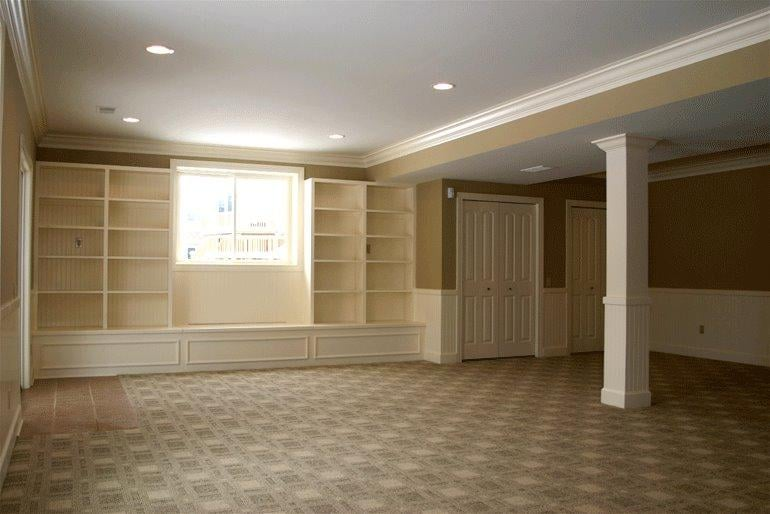 Recessed Lighting For Finished Basement : Finished basement custom built shelves recessed lighting