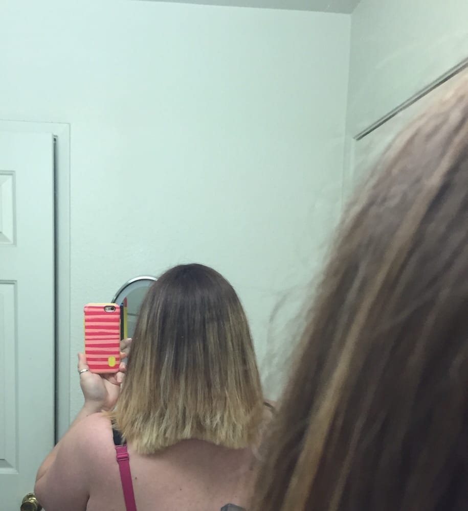 Heres The Back Of My Ombr Color And A Line Haircut I Had Done