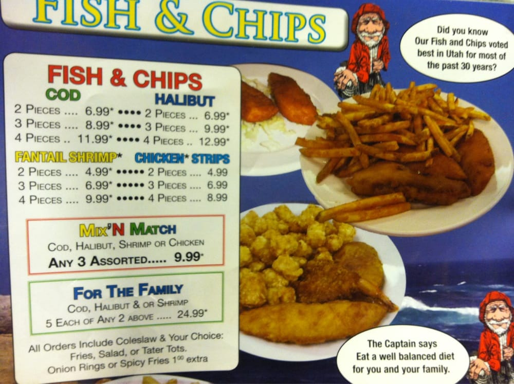 The fried fish portion of the menu when a menu has for Family fish market menu
