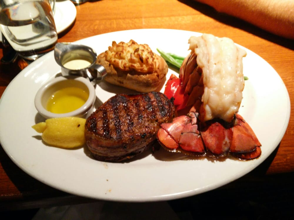 Filet Mignon And Lobster Tail With Twice Baked Potato The