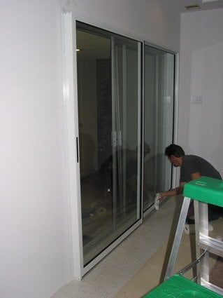 2 Panel Sound Proof Sliding Door Unit Installed On The Patio ...