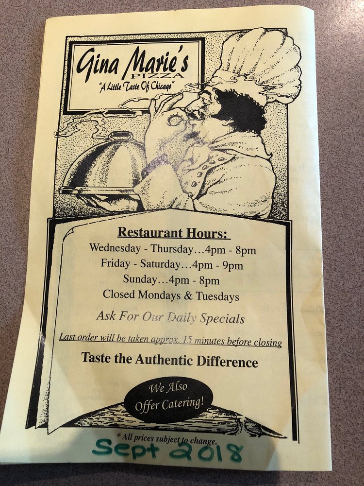 Gina Marie's: 1905 S Heaton St, Knox, IN