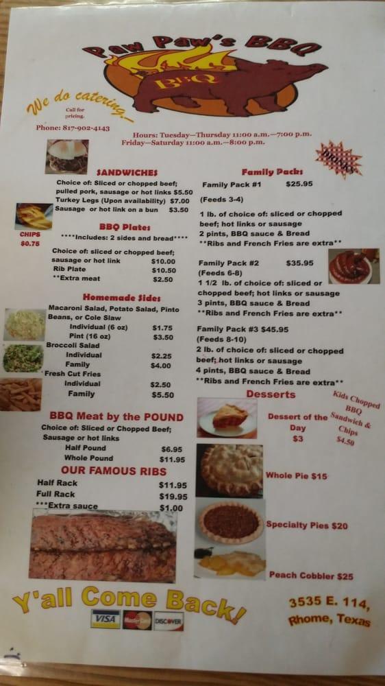 Paw Paw's BBQ: 3535 E State Hwy 114, Boyd, TX