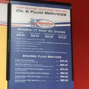 SpeeDee oil change prices start out at $ and go up to $ for a full synthetic oil change. During your visit the company prides itself on providing a point oil change at low SpeeDee prices. Once the staff has verified what type of oil your vehicle needs they will tell you the approximate SpeeDee oil change cost. After your oil is.