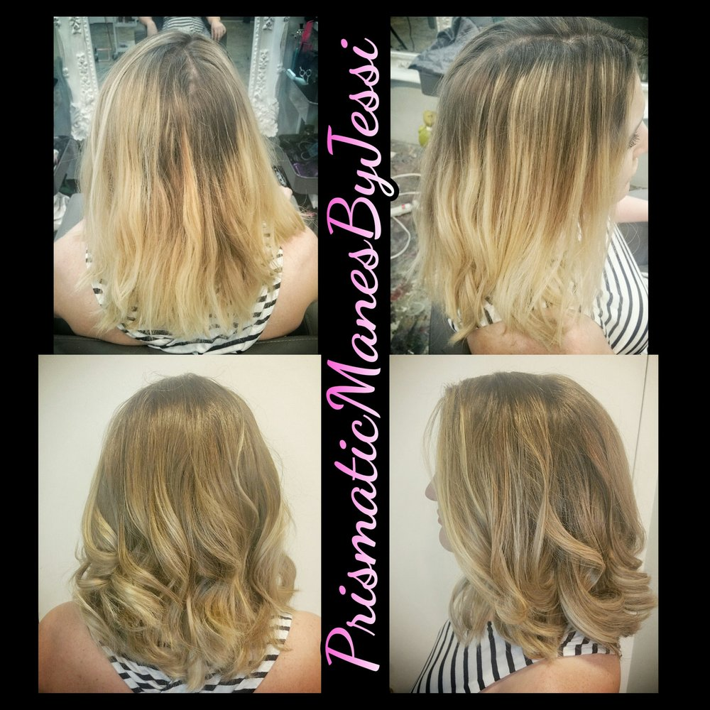 A Reverse Balayage Root Stretch Lowlight Hair Fix After A Bad Foiled