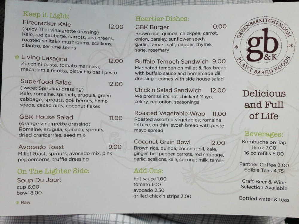 green bar and kitchen menu food menu yelp 6930