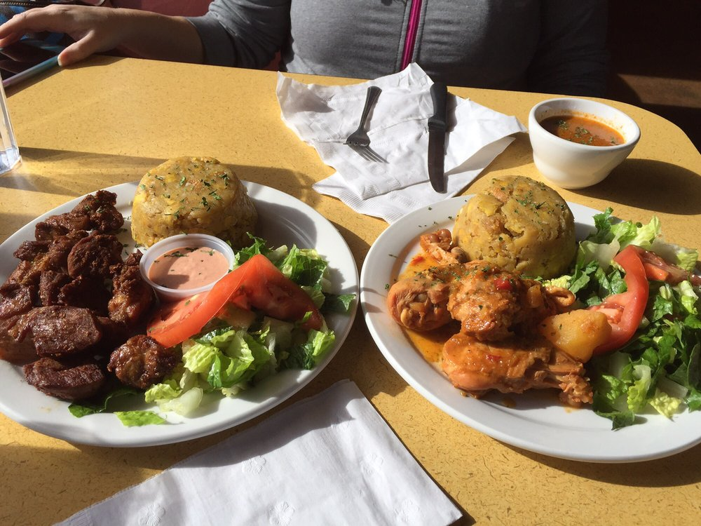 Mofongo with carne frita and pollo guisado so good yelp for Authentic puerto rican cuisine