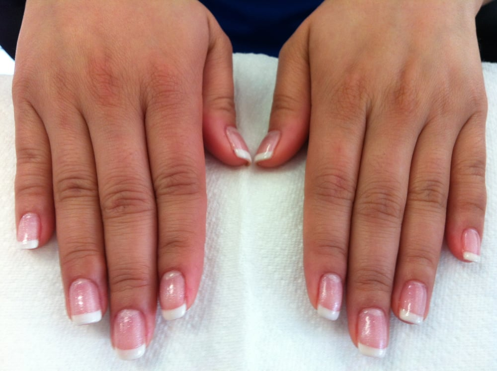 Holiday French Tips. Shimmery pink base and then white ...