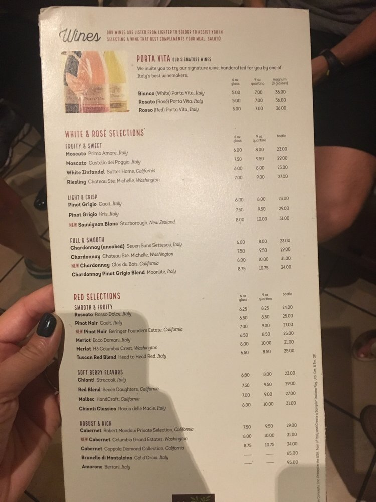 Menu For Olive Garden: Wine Menu At Olive Garden