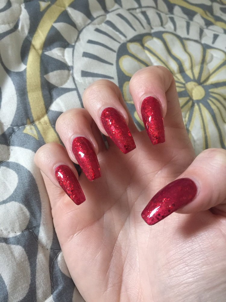 Coffin Shape Valentine S Day Nails Done By Leanne Love Yelp