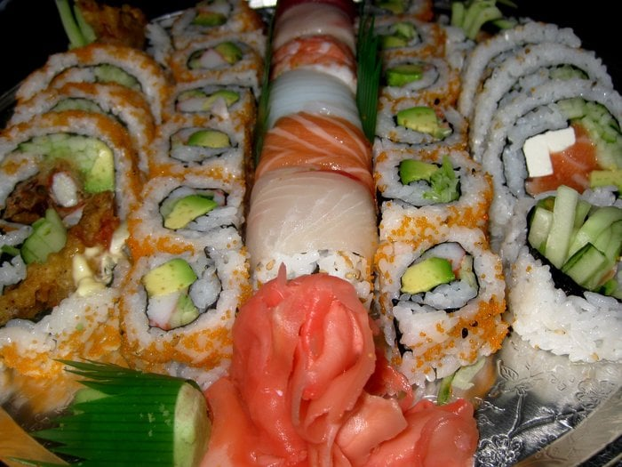 Spider rolls california rolls one rainbow roll more for Lawrence fish market