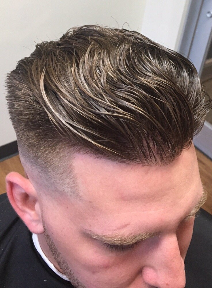 Skin fade comb back with hot towel shave beard  #barber