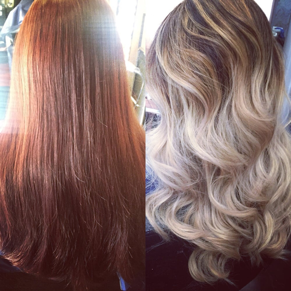 From Red To Platinum Blonde Ombr With Highlights Hair Done By