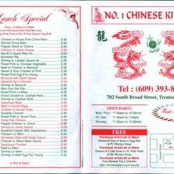 Number One Chinese Restaurant - Chinese - 702 S Broad St, Trenton ...