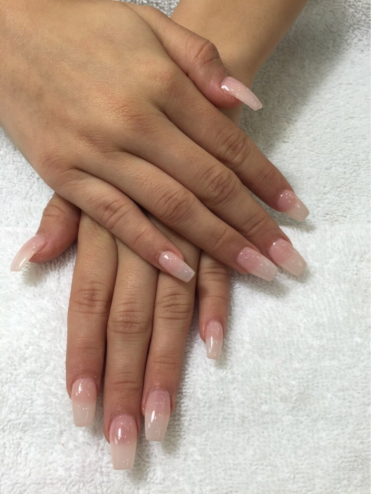 Very natural color on acrylic nail with coffin shape - Yelp