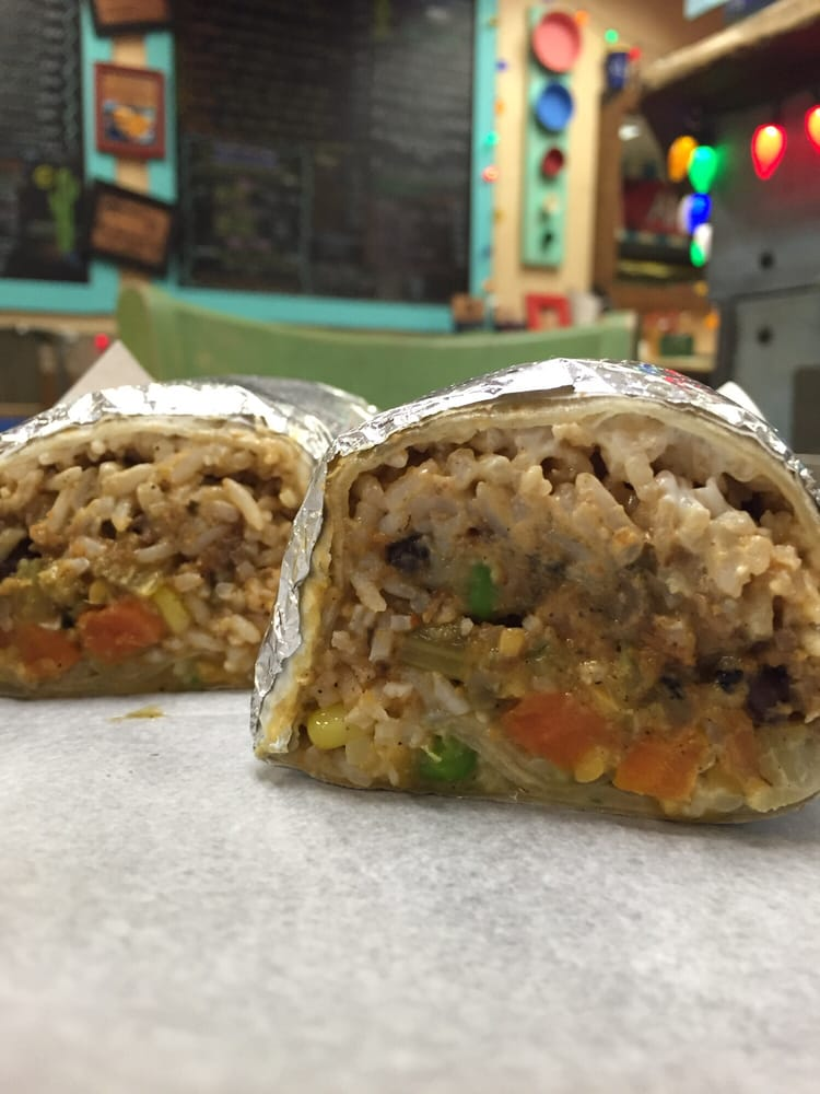 Vegetable Burrito With Beans Peas And Rice Yelp
