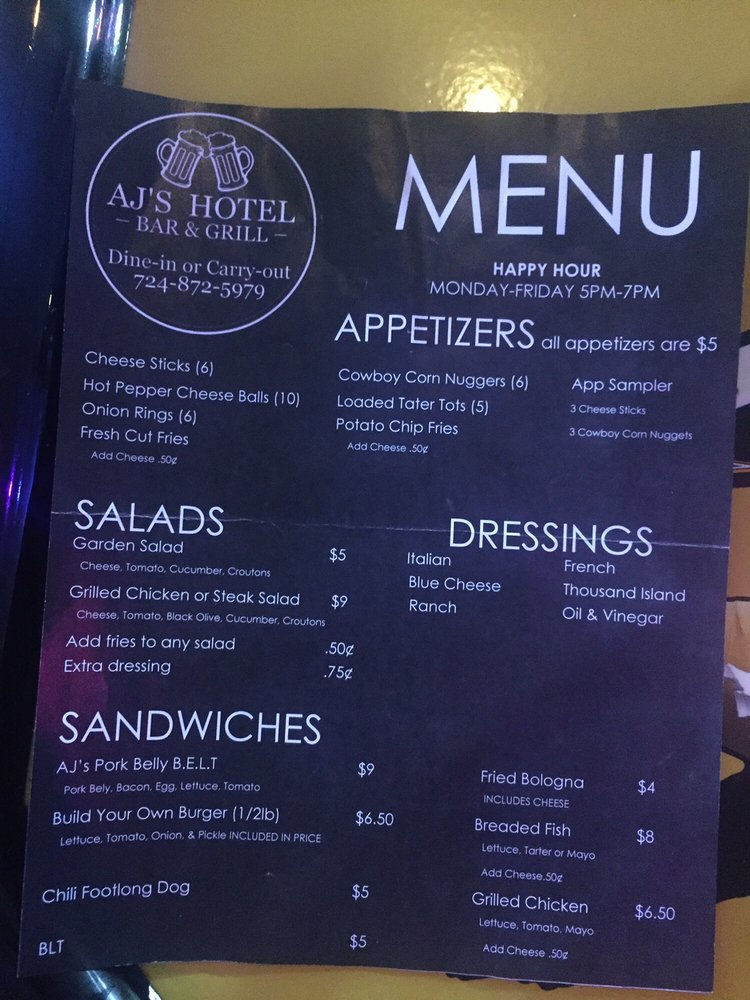 AJ's Hotel Bar and Grill: 636 State Rte 981, Smithton, PA