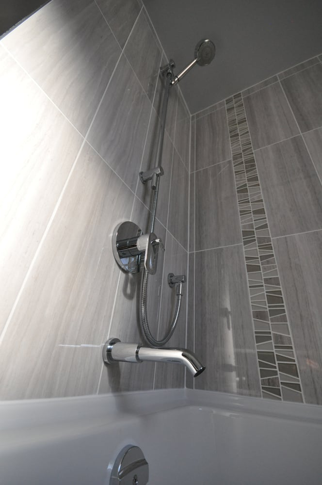 Bathtub + Shower System with Vertical Mosaic - Yelp