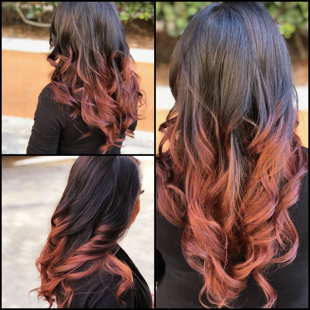 Chocolate Rose Gold Balayage It Looks Lighter Cause Of The Sun But