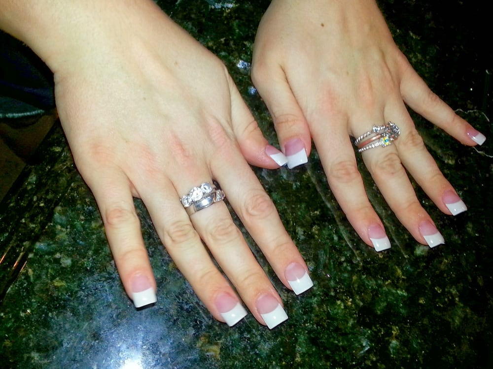 French tip acrylic nails done by \