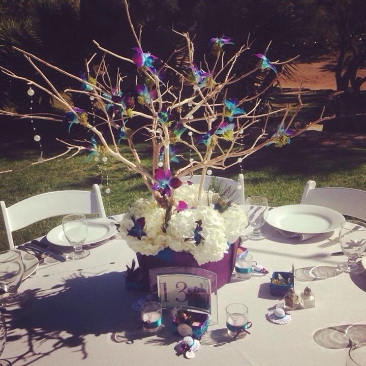 Centerpieces for my teal purple peacock themed wedding at - Purple and teal centerpieces ...