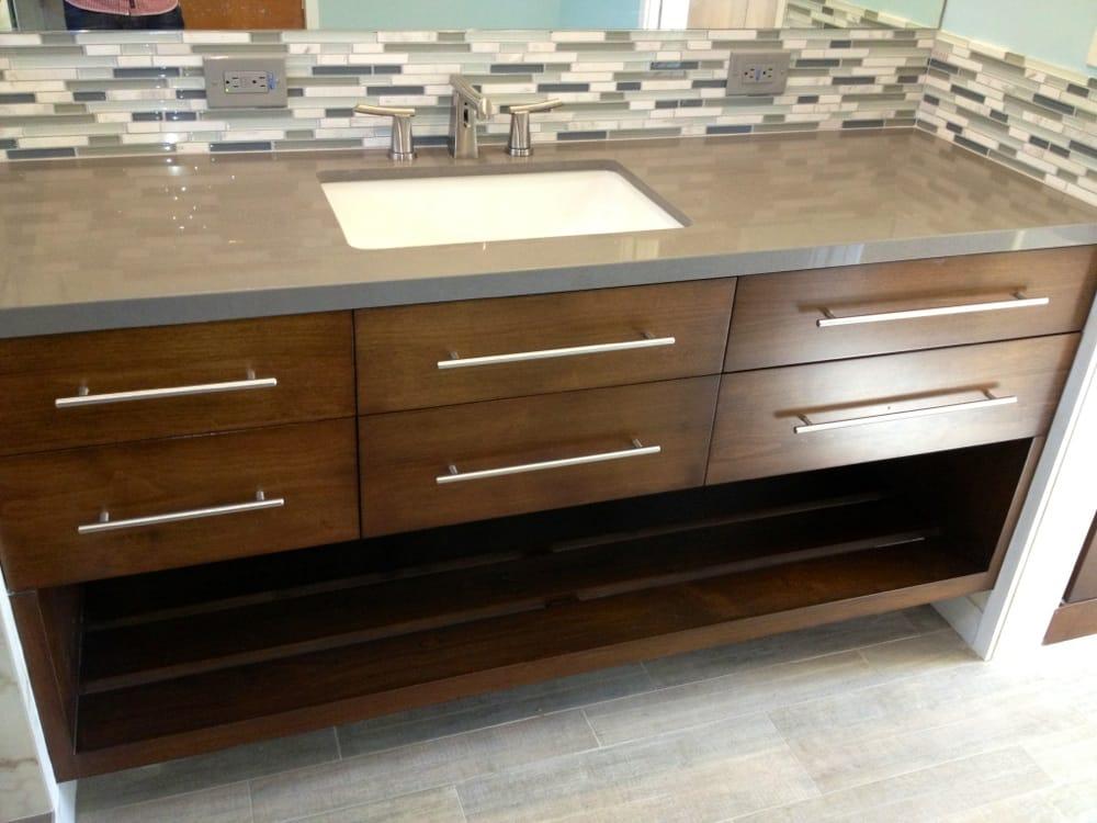 Custom hand built walnut wood floating vanity 74 with - Custom bathroom countertops with sink ...