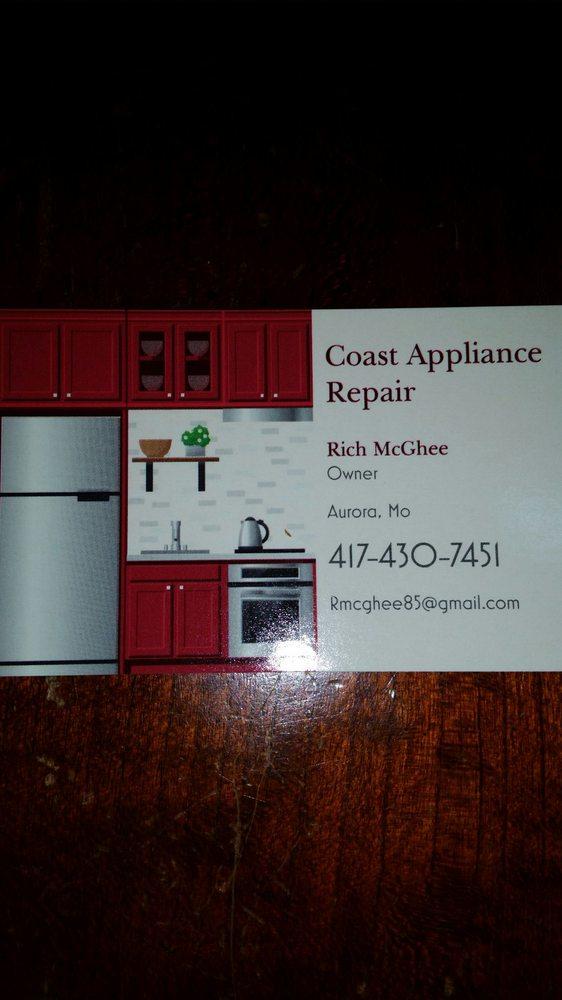 Coast Appliance Repair: 502 West Church St, Aurora, MO
