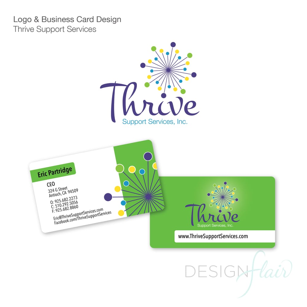 Thrive support services logo design business card designprinting photo of designflair eugene or united states thrive support services logo reheart Images