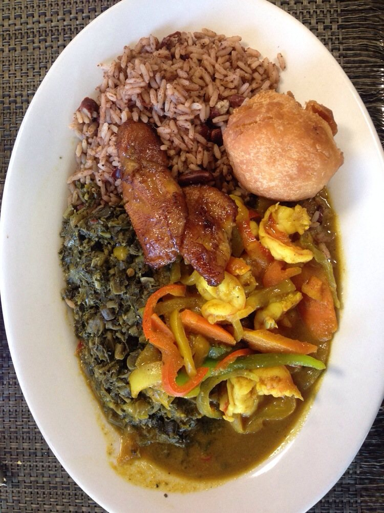 Stewed curry shrimp with callaloo yelp for Ackee bamboo jamaican cuisine