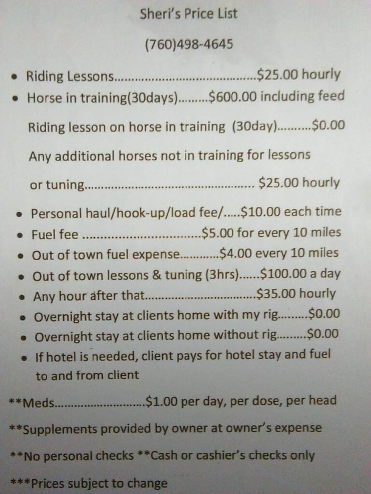 Sheri's Riding Lessons and Horse Services: Main St, Brawley, CA
