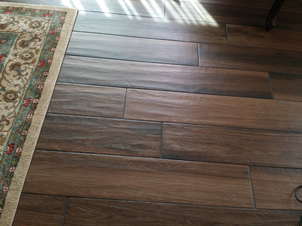Faux Wood Grain Porcelain Tile Planks With Shadow Like Black Grout - Click lock porcelain tile