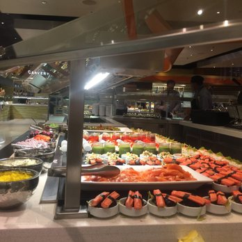 The Buffet incorporates several live-action cooking stations and a level of food quality and presentation not currently experienced in Las Vegas. Guests may choose from the best of Italian, Japanese, Chinese, seafood and American cuisines.
