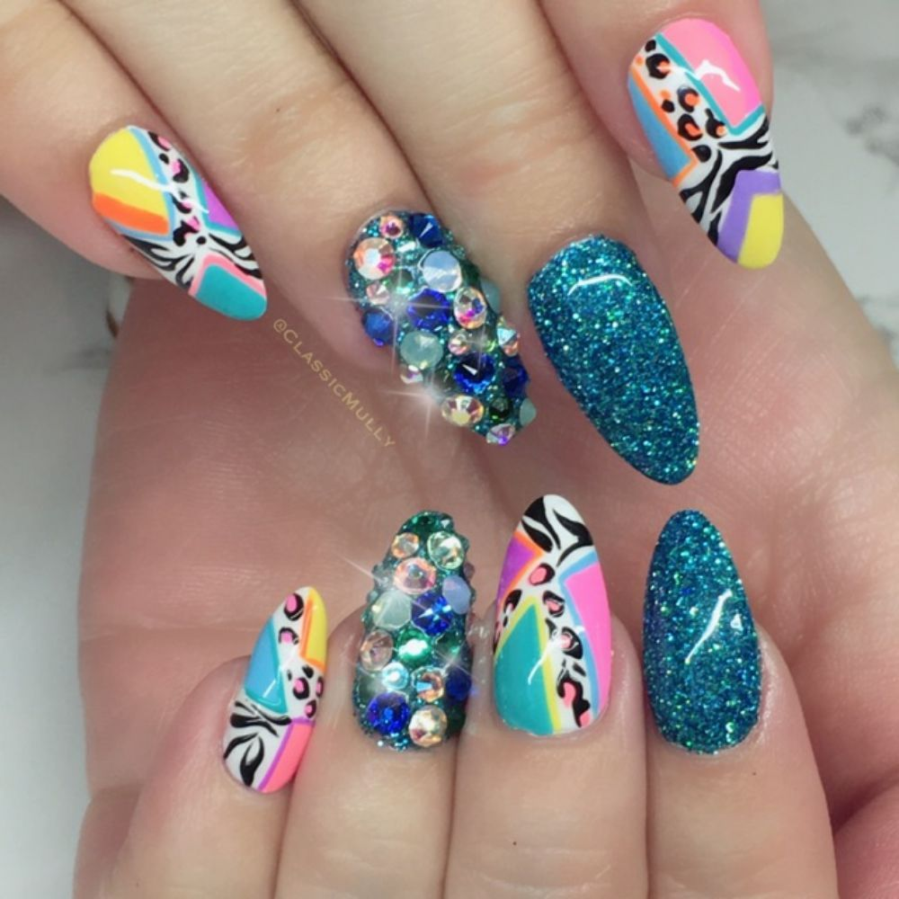 Hand painted design with swarovski treasure nails and glitter - Yelp