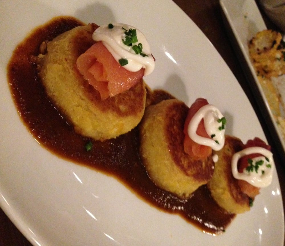 ... with smoked salmon, house crema, chives, and ancho chile sauce - Yelp