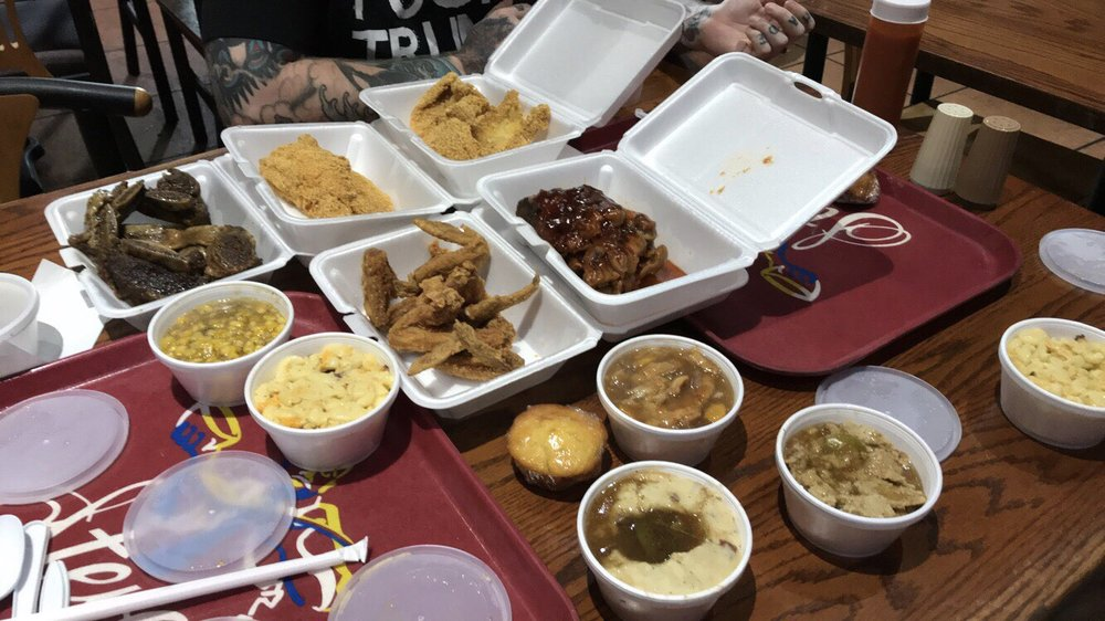 Fried Catfish Pig Feet Chicken Wings Peach Cobbler Mashed