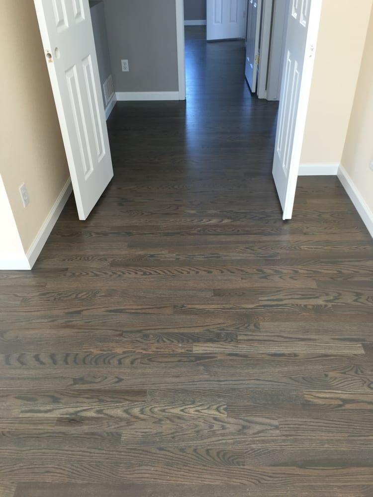 1078 sqft new 2 1 4 red oak install sand custom stain for Oak flooring company