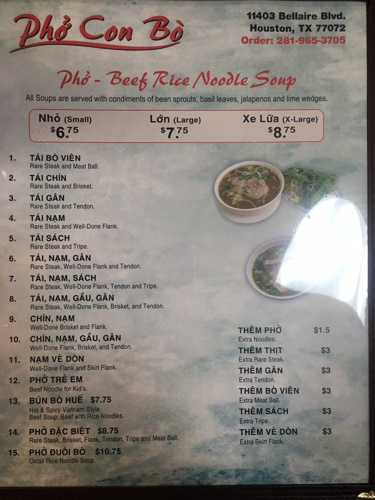 Online Menu Of Pho Con Bo Restaurant Houston Texas 77072
