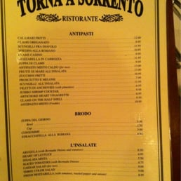 Torna A Sorrento Restaurant Menu