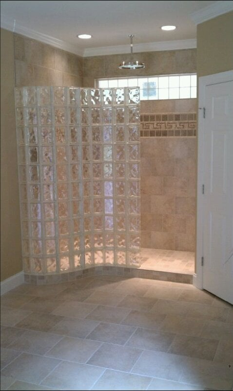 Curved Glass Block Shower Wall With Ready For Tile Shower