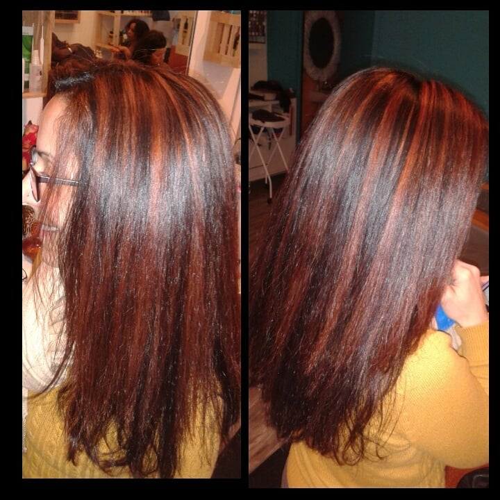 Highlights with red toner yelp photo of hair stylist christina ocasio oakland ca united states highlights with pmusecretfo Image collections