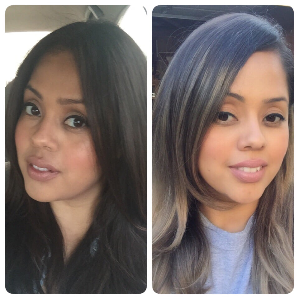 From dark brown to a light ombr hair stylist genius - Addiction hair salon ...