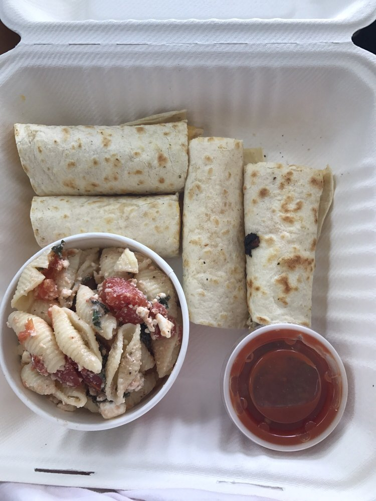 Zoes Kitchen Chicken Roll Ups chicken roll ups with pasta salad! roll ups with chicken and